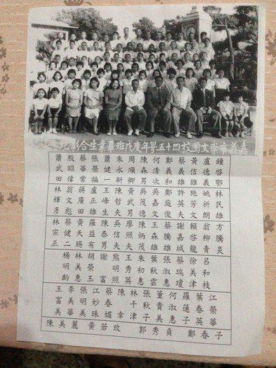 嘉義市崇文國小於民國46年畢業的六年戊班,預計在12月30日舉辦畢業一甲子同學會...