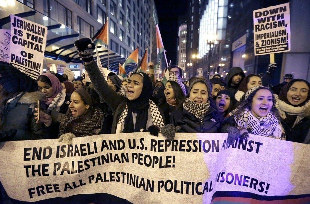 巴勒斯坦人抗議美國承認耶路撒冷為以色列首都。 (美聯社資料照)