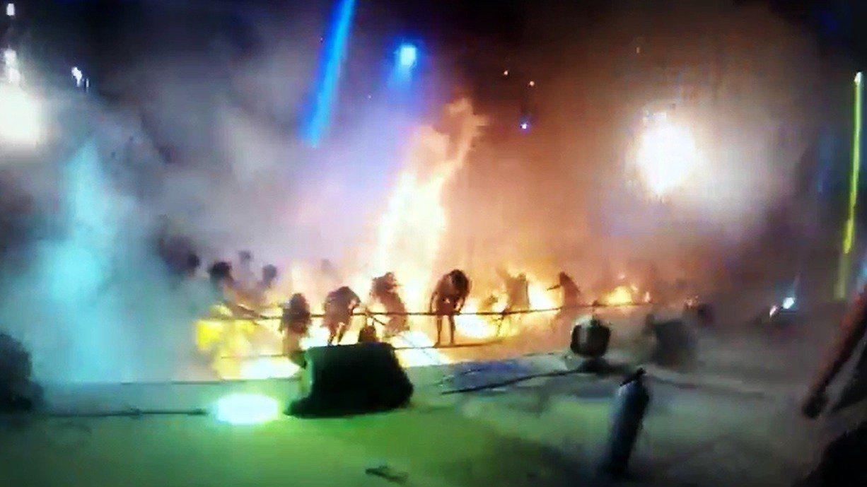 八仙樂園塵爆案意外發生時的舞台現場。 圖/報系資料照片