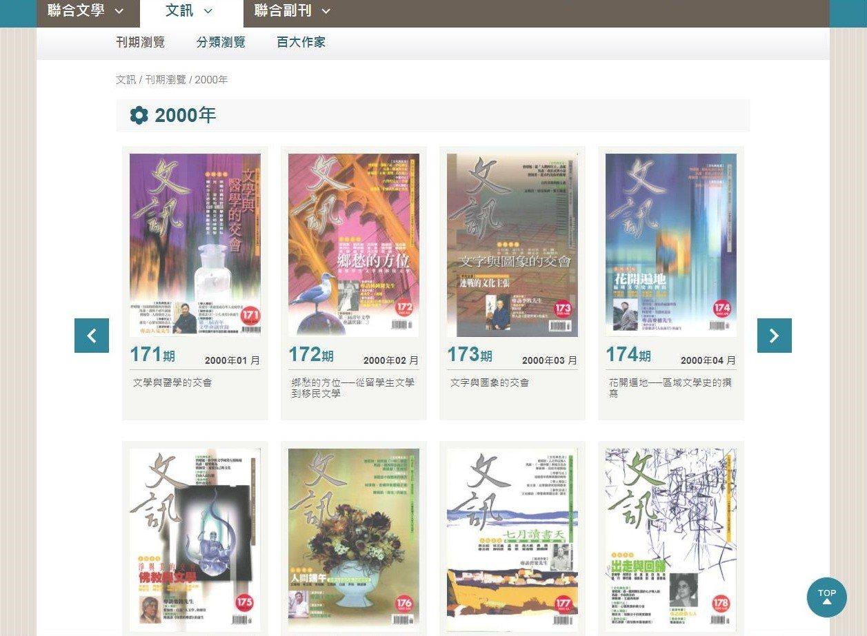 臺灣文學知識庫中的文訊期刊,可瀏覽查訊各刊期。