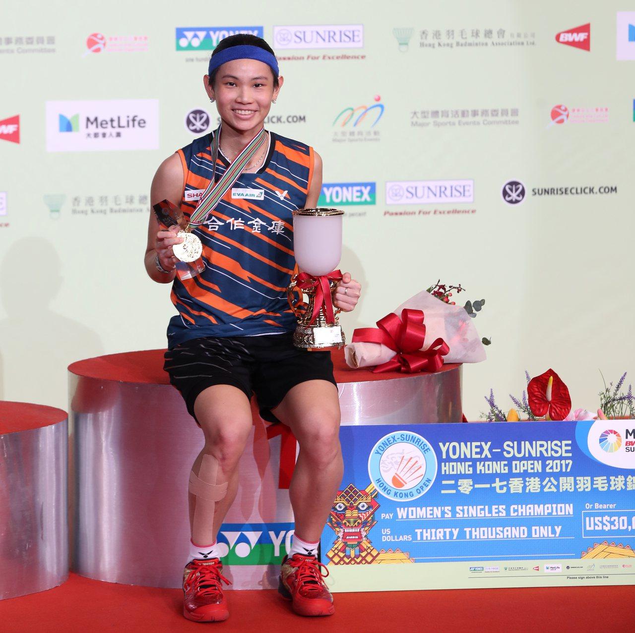 戴資穎前一站在香港超羽賽完成衛冕,年終賽將尋求另個連霸。 圖/Badminto...