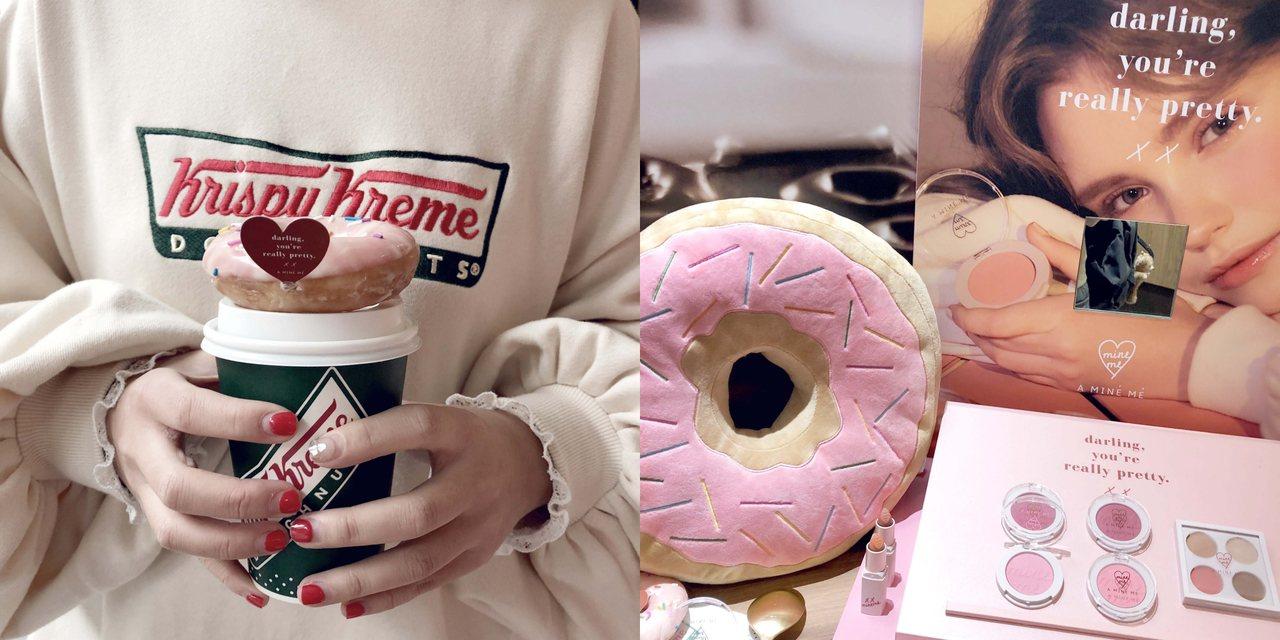 Krispy Kreme、PAZZO跨界合作甜甜圈、大學T及抱枕。圖/PAZZO...