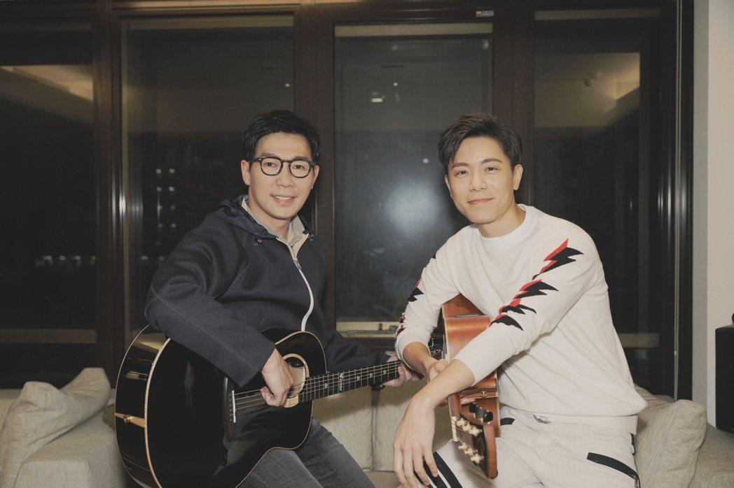 品冠(左)和韋禮安合作音樂。圖/太合/海蝶音樂提供