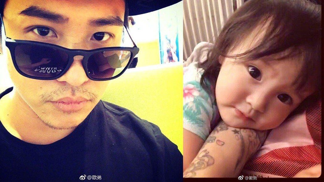 歐弟與女兒JoJo。 圖/擷自微博。