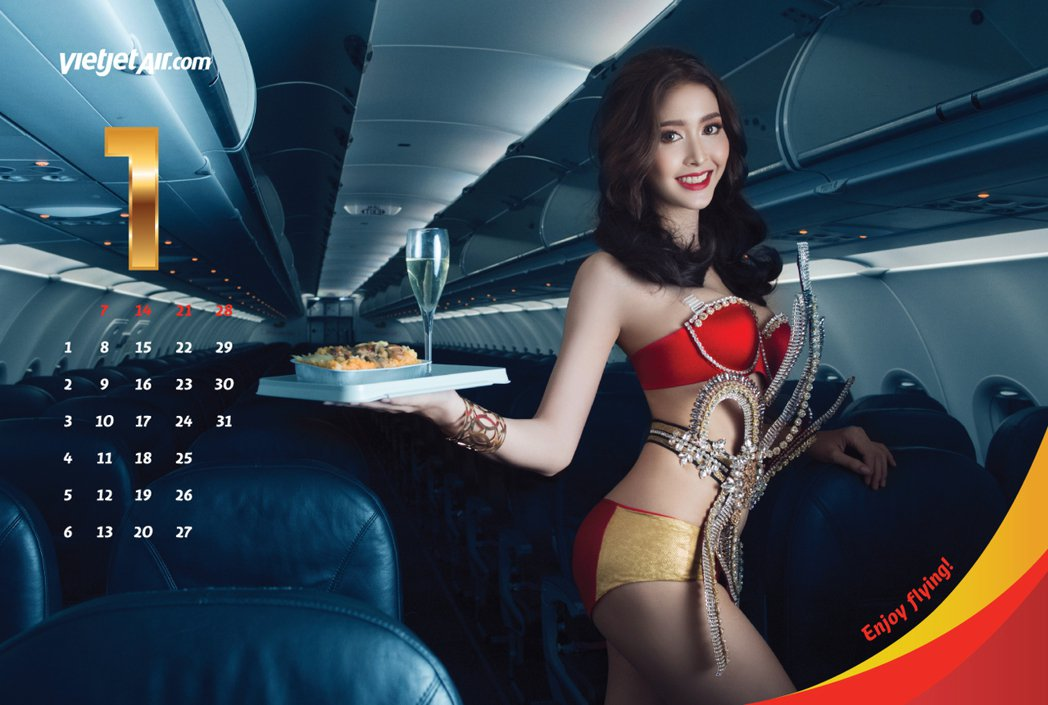 越捷航空推出2018年全新「比基尼」月曆。圖/越捷航空提供