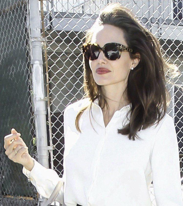 安潔莉娜裘莉配戴LadyDiorStuds墨鏡,增加強大氣場。圖/Dior提供