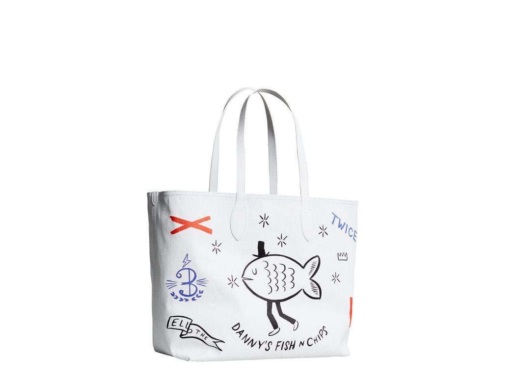 藝術家Danny Sangra塗鴉的The Doodle炸魚薯條托特包,售價33...