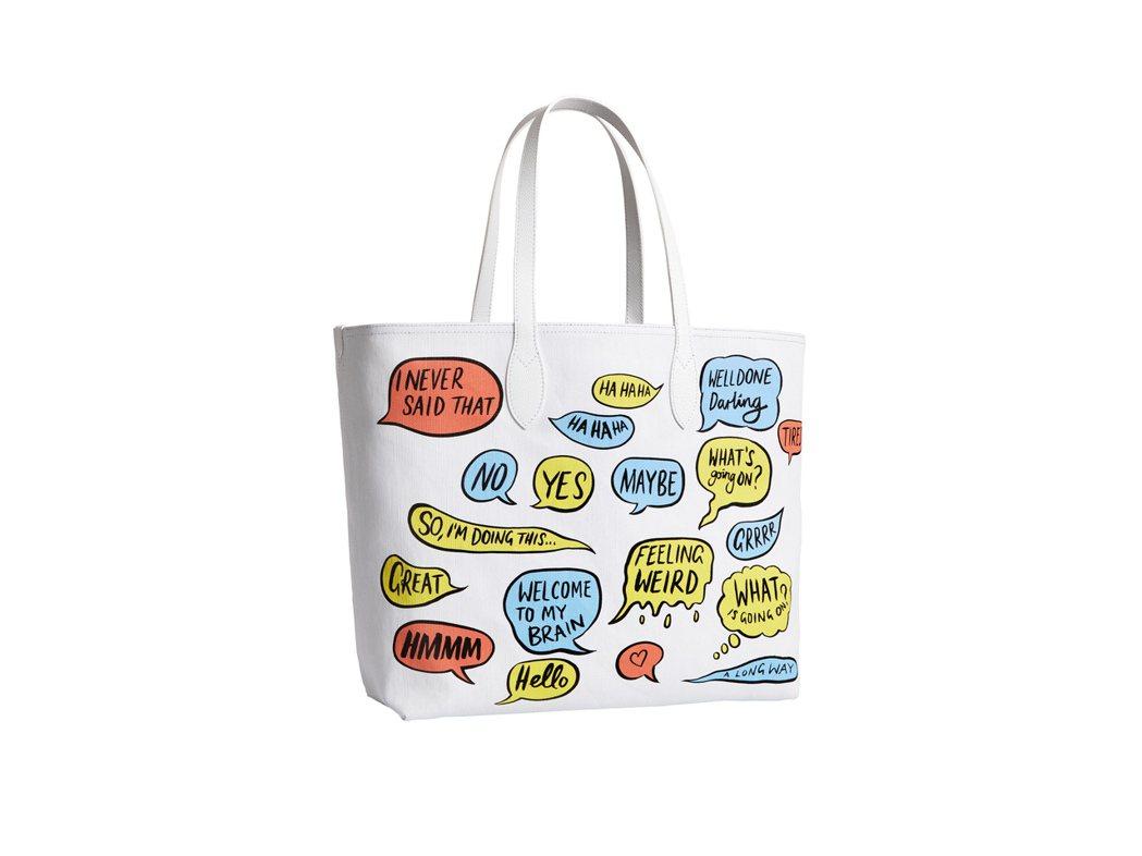 藝術家Danny Sangra塗鴉的The Doodle文字系列托特包,售價33...