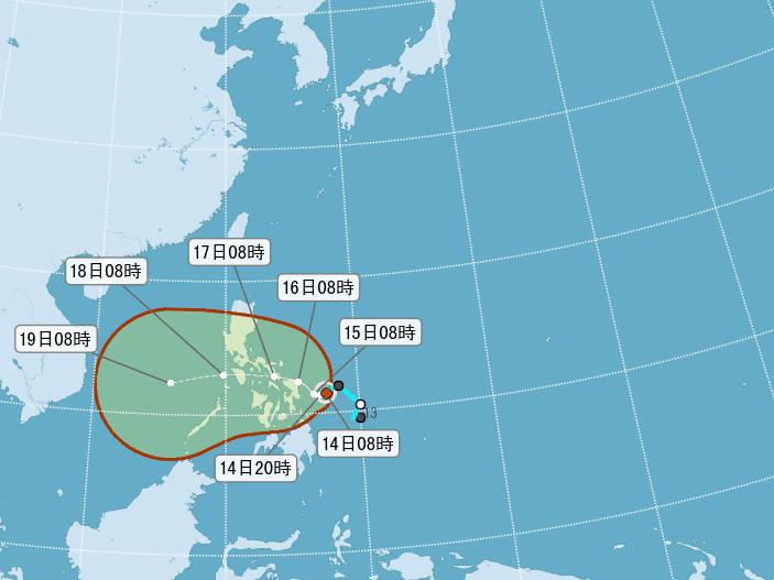 輕颱啟德今天生成,對台灣無直接影響。圖擷自中央氣象局