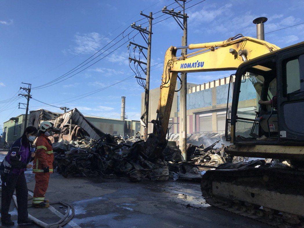 失火廠房幾乎成為廢墟。 記者許政瑜/攝影