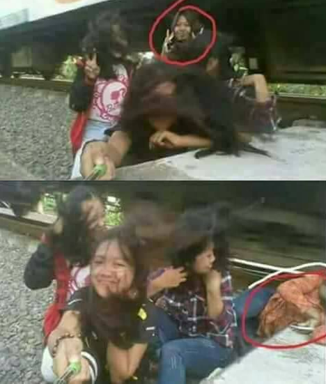 一名16歲少女自拍,沒想到竟遭火車爆頭。圖擷自Kejadian Hari Ini