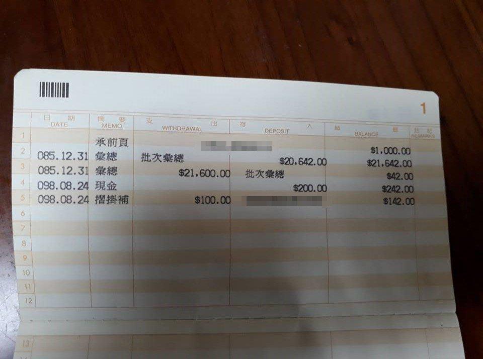 網友po出他20年前打工時領的薪水,讓很多人看了覺得現在的薪水真的好低。圖擷自爆...