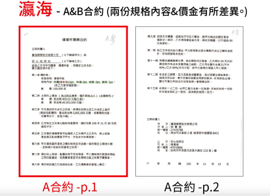 瀛海國際公開原始兩份合約之內容。 圖/INSIDE