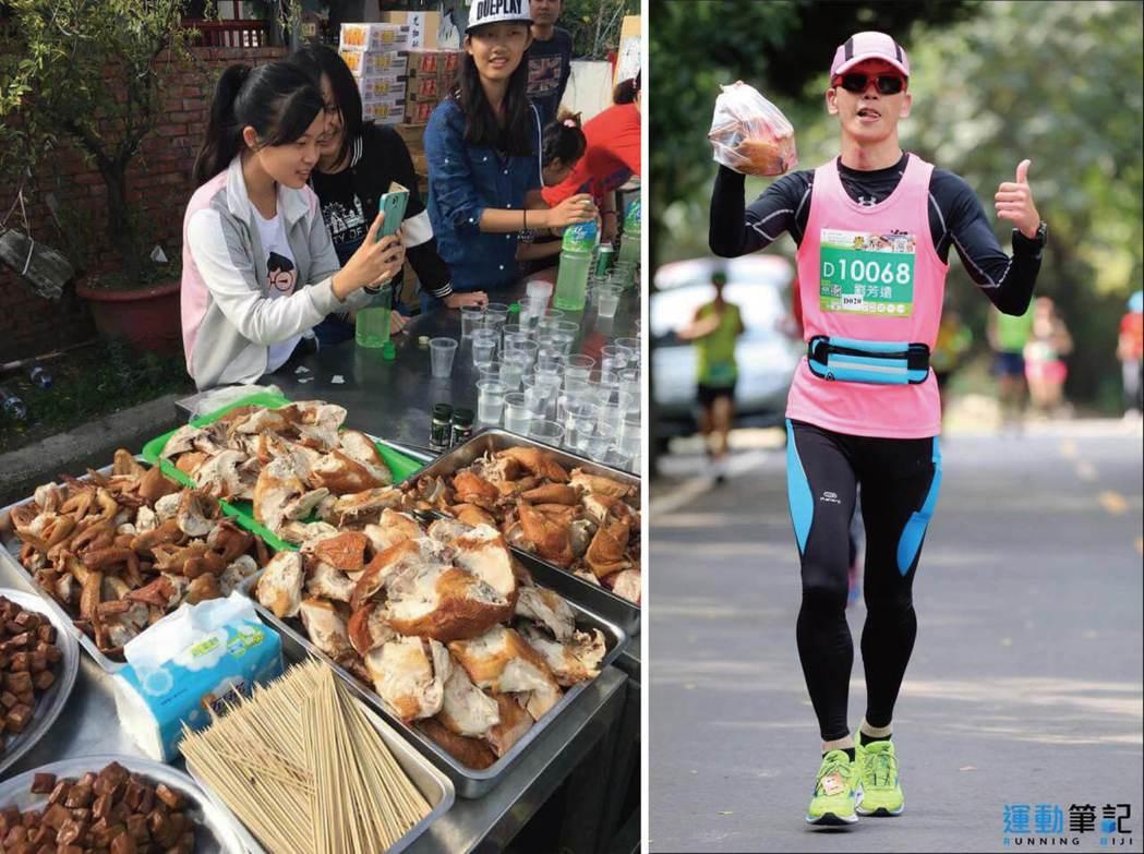 雲林虎尾馬拉松的補給站有多到滿出桌子的烤雞(左圖),讓不少選手最後都拎著一隻烤雞...