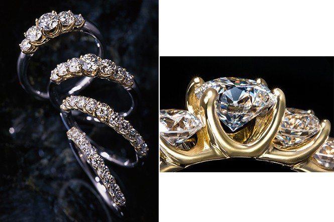 鑽石排戒,秘訣在高低階梯的排列方式,有它種鑲工無法閃現的光彩;指窗部位得牢固寶石...