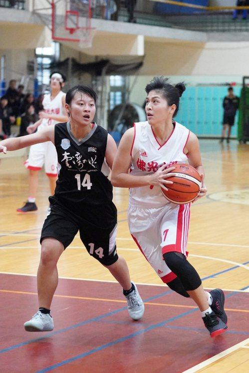 佛光大學彭惠貞(右)切入。 圖/大專體育總會提供