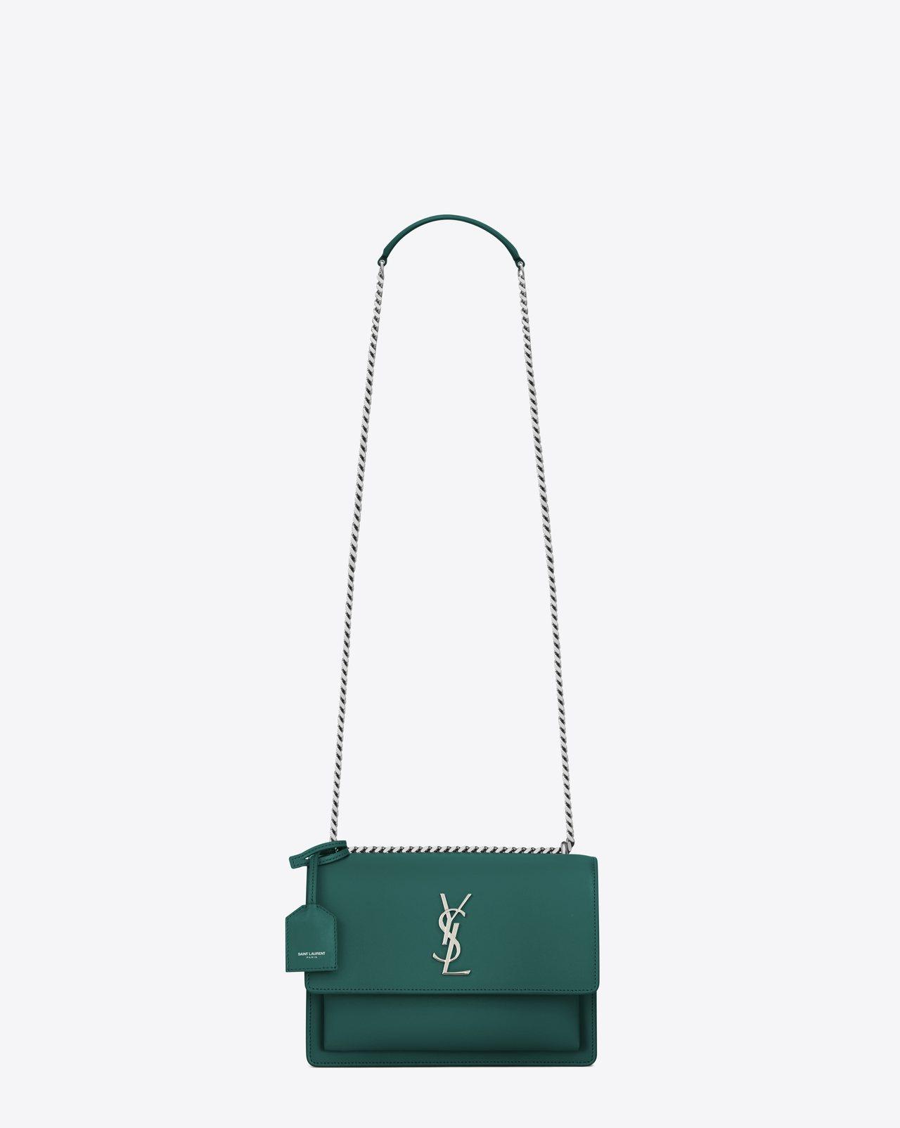 SUNSET水綠色鍊帶肩背包,75,400元。圖/Saint Laurent提供