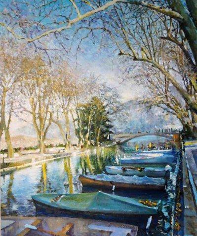 高等法院法官郭豫珍熱愛繪畫,圖為她到法國小鎮Annecy旅遊時的油畫作品。 記者...