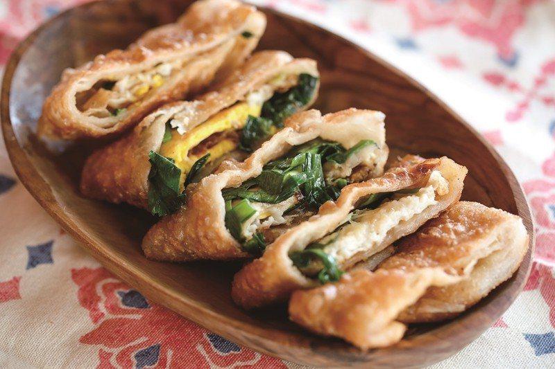 Fried egg pancakes at Jinjin Soy Milk