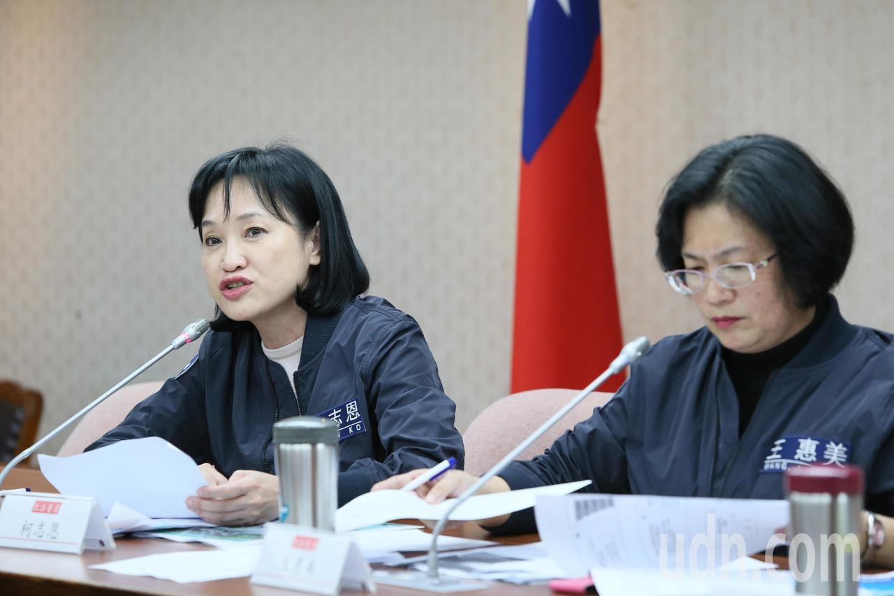 國民黨立委柯志恩(左)、王惠美(右)等人上午舉行「離岸風電專法可行性評估公聽會」...