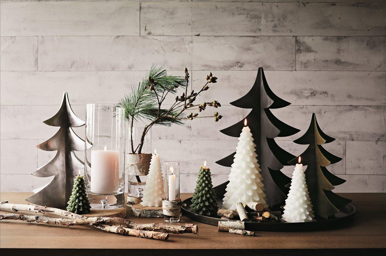 耶誕樹擺飾與耶誕樹蠟燭。圖/Crate and Barrel提供