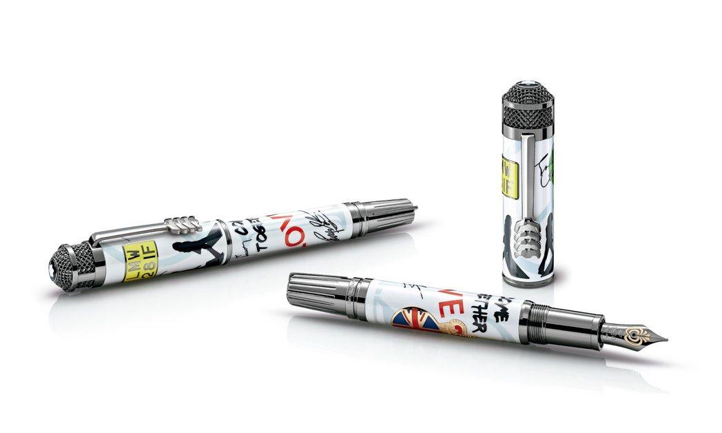 (左起)萬寶龍名人系列披頭四樂團1969限量款鋼珠筆,95,800元;鋼筆,10...