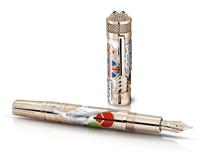 萬寶龍名人系列披頭四樂團88限量款鋼筆,96萬9,900元。圖/萬寶龍提供