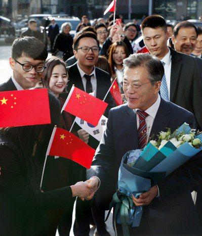 文在寅北大演講:中韓未來靠各位。 歐新社
