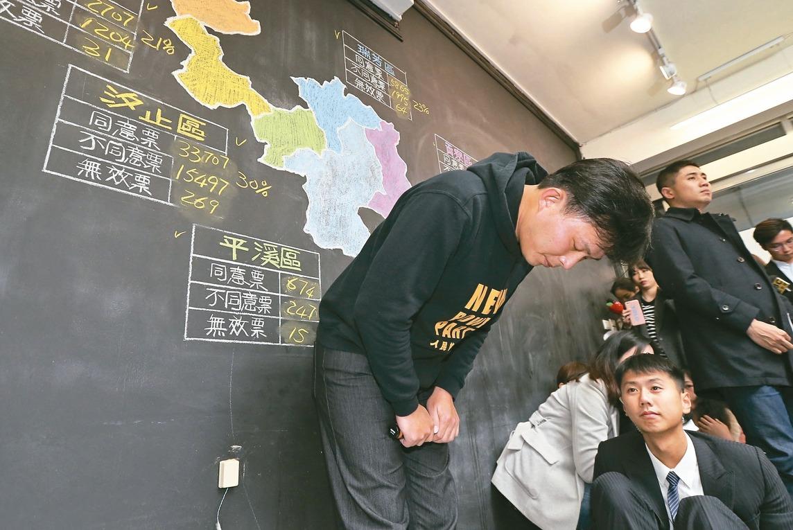 罷免案未過,立委黃國昌在汐止服務處發表演說,並兩度鞠躬致意。 記者許正宏/攝影