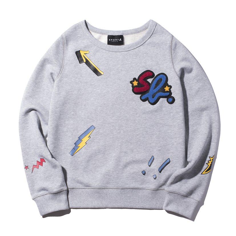 灰色休閒長袖 T 恤,4,580元。圖/SPORT B. 提供