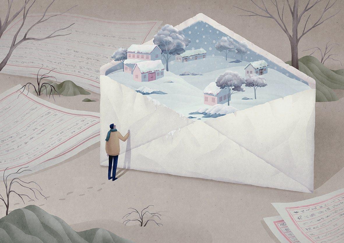 出自〈鄉愁四韻〉,繪者Julia Yellow。畫作充滿隱喻,信封打開不是信紙,...