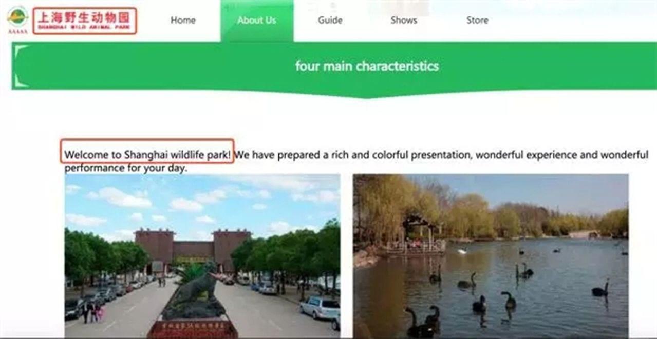 上海野活潑物園官網現奇葩翻譯,外國游客越看越懵。圖擷自上海野活潑物園的官方網站