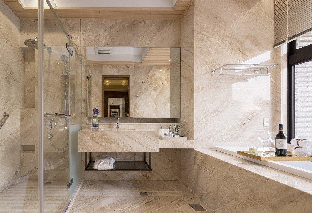 「百立生日公園」主浴使用大量石材。 圖片提供/百立建設