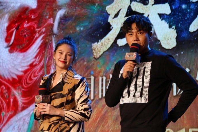 張雨綺與秦昊出席「妖貓傳」北京首映。圖/摘自微博