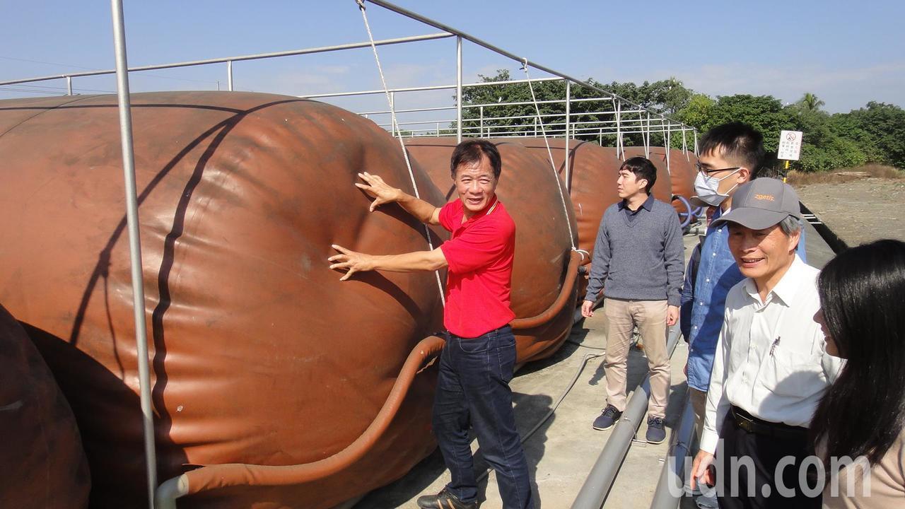 台糖公司大響營第一畜殖場場長楊澤盛(中)帶領眾人參觀沼氣池上架設的蒐集沼氣的紅泥...