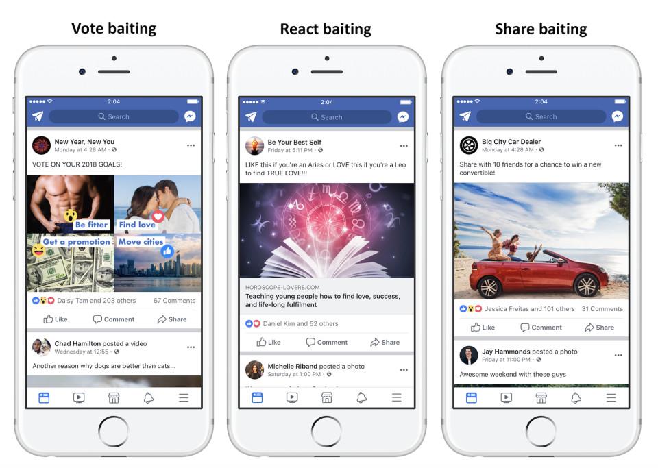 未來要求其他用戶按讚、分享、標住朋友或留言的相關臉書貼文將會被降低擴散度。(網路...