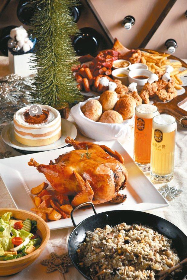 金色三麥餐廳推出「繽紛耶誕套餐」,精選7項人氣料理。 圖/金色三麥提供