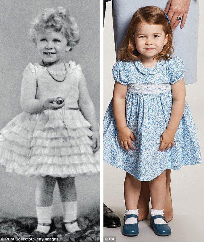 夏綠蒂小公主像極了伊莉莎白二世小時候的樣子。圖/擷自每日郵報