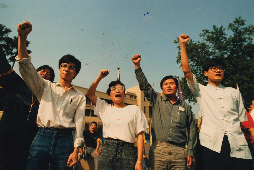 「獨台會案」 涉及「獨台會」被押的學生廖偉程(左起)、王秀惠、林銀福、陳正然。 ...