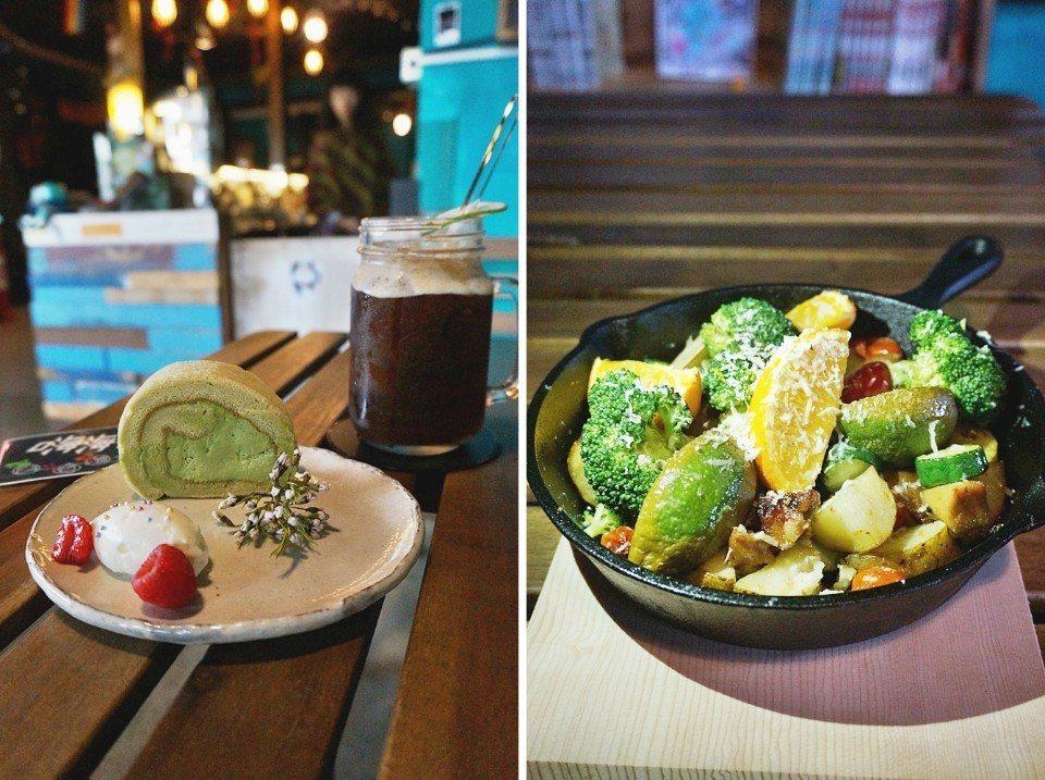 抹茶捲與鹽烤蔬菜派對,兩家食物吧都是嗨嗨的常駐夥伴。(攝影/林郁姍)