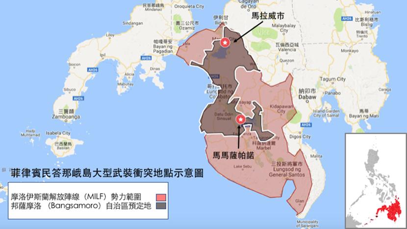 菲律賓民答那峨島大型武裝衝突地點示意圖。 圖/作者所繪