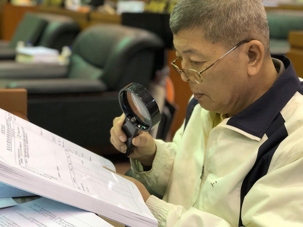 無黨籍嘉義市議員黃秋澤以「市政抓漏師」自居,他拿放大鏡看預算書,是議場經典畫面。...