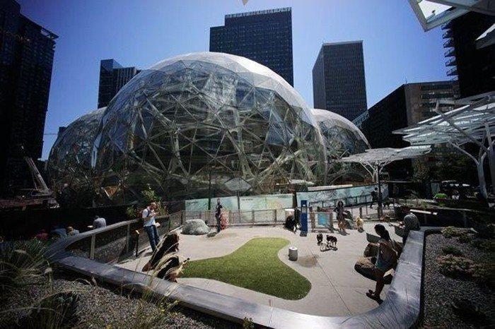 位於西雅圖的亞馬遜新總部,空地上,五層樓高、裡面眾滿奇花異草的三顆鋁球為最醒目的...
