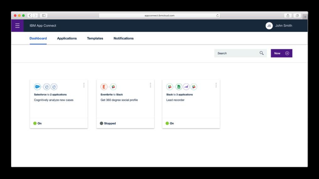 App Connect 儀表板呈現不同的資料流。 業者/提供。
