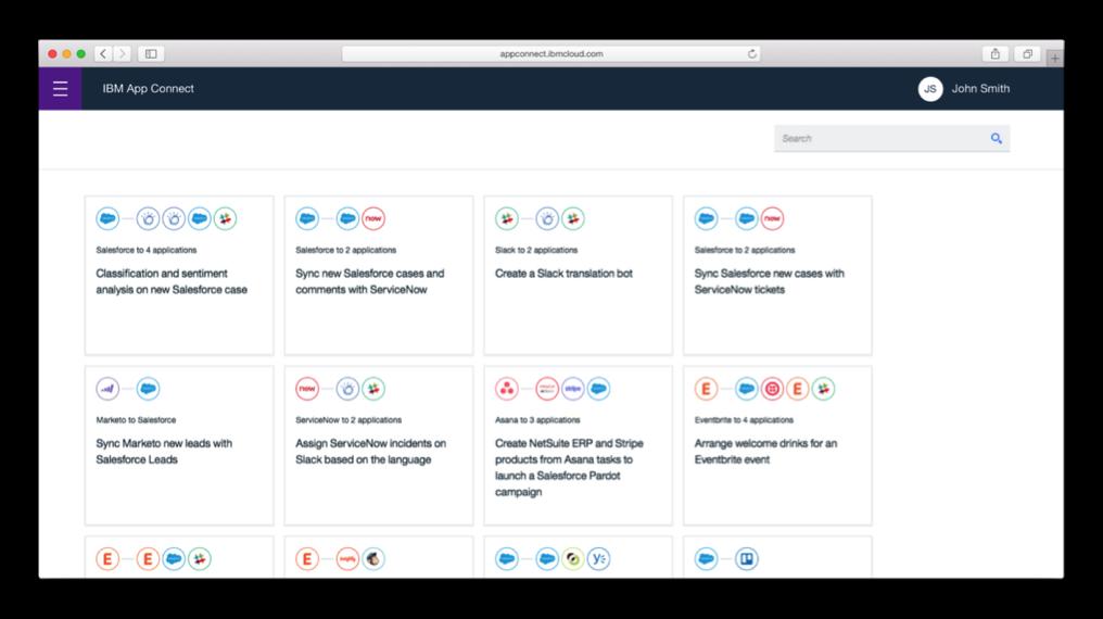 App Connect 提供一些預先定義的整合模板。 業者/提供。