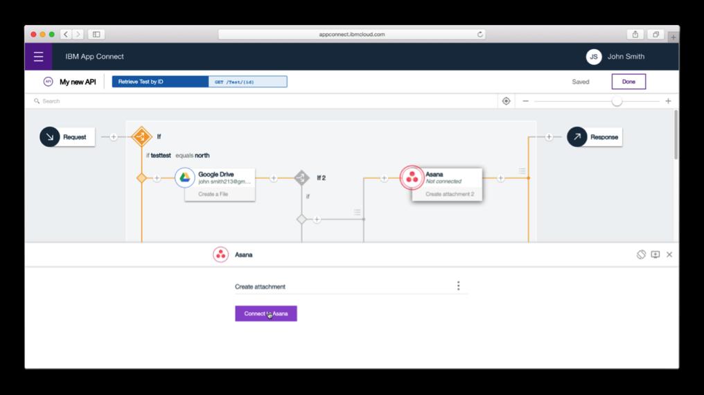 多元化的App Connect API flow 編輯器,讓整合使用者可以在資料...