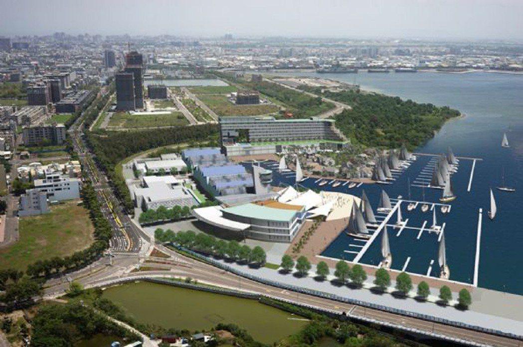 全國最大水陸域綜合遊艇港招商的台南市安平港遊艇碼頭投資案21日簽約,預定109年...