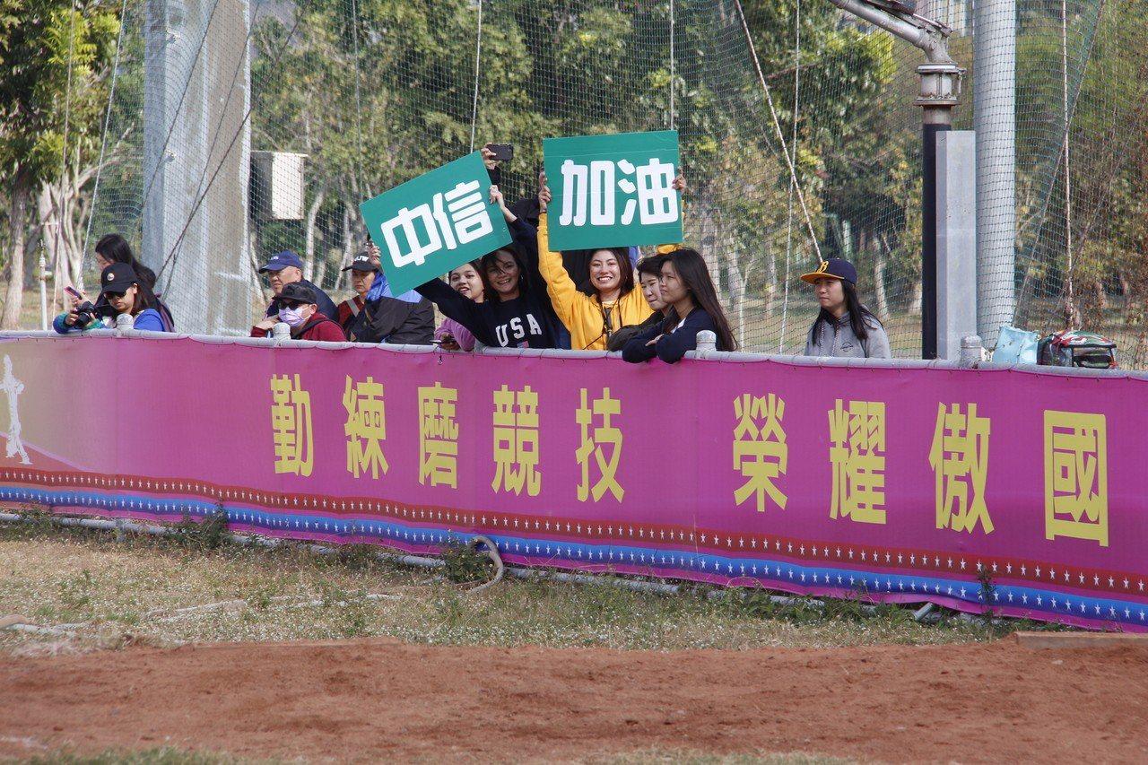 中信金融管理學院師生不畏寒風到場為棒球隊加油。圖/中信金融管理學院提供