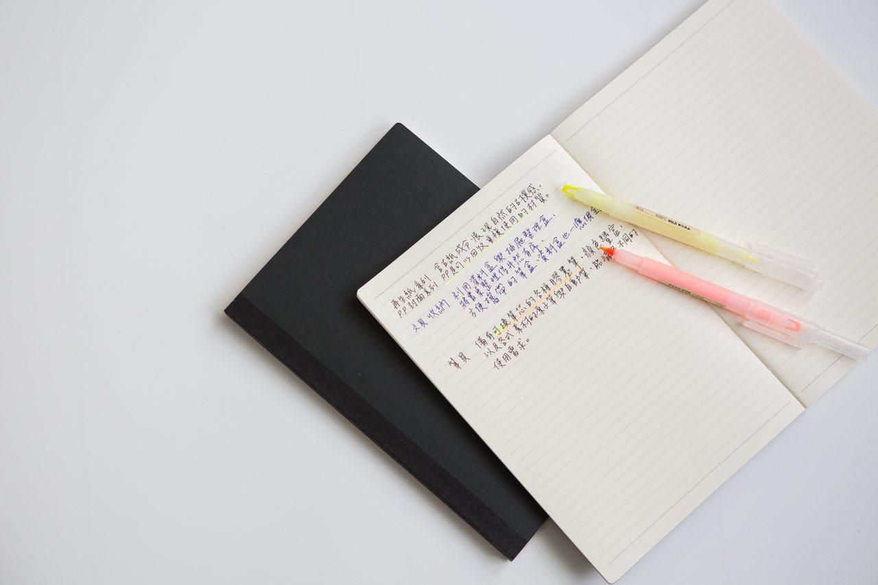 黑色封面滑順筆記本,售價135元。圖/無印良品提供