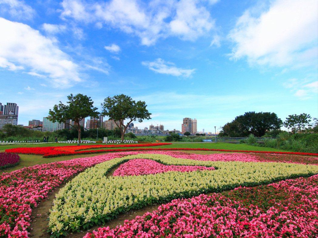 古亭花海總面積高達2,200平方公尺。圖/臺北市政府工務局水利工程處提供